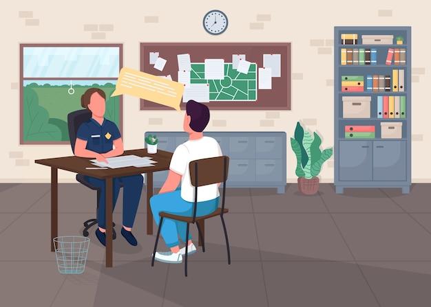 Flache farbabbildung des polizeibüros. rechtsabteilung. cop interview opfer für bericht. polizeibeamter mit zeugen 2d zeichentrickfiguren mit mittelinnenraum auf hintergrund