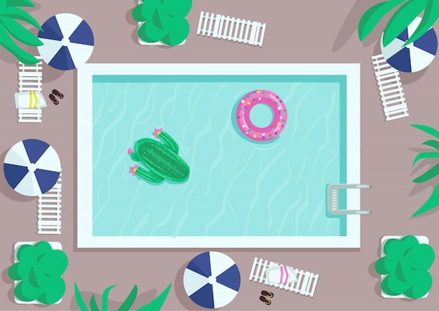 Flache farbabbildung des quadratischen pools der draufsicht. luftmatratzen schwimmen auf dem wasser. hotelanlage. aufblasbarer donut und kaktus. poolside 2d karikaturlandschaft mit liege und regenschirmen auf hintergrund