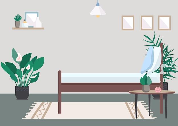 Flache farbabbildung des schlafzimmers. bett zur entspannung. incentive auf dem tisch für aromatherapie. platz zum ausruhen. möbel für die erholung zu hause. raum 2d karikaturinnenraum mit wand auf hintergrund