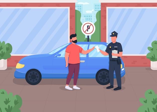 Flache farbabbildung des verkehrstickets. strafe für das parken eines autos in einem sperrgebiet. verbotene zone für auto. 2d-zeichentrickfiguren des polizeibeamten und des fahrers mit stadtbild auf hintergrund