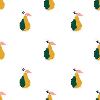 Flache farbe birne nahtlose hintergrund-vektor-illustration. skandinavischer stil. sommerplakat. gesunde zeichenkunst. süße frucht. vegetarische kulisse.