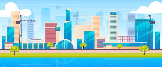 Flache farbe der skyline der metropole. 2d-karikaturlandschaft der städtischen baustelle mit kranichen und wolkenkratzern auf hintergrund. bauindustrie. entwicklungsstadt, wohnviertel