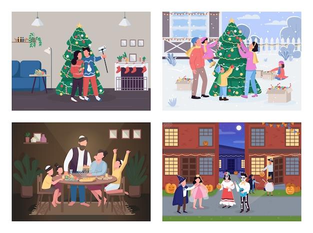 Flache farbe der traditionellen feiertagsfeier. jüdisches volk auf chanukka. weihnachtstag. familien-2d-zeichentrickfiguren mit inneneinrichtung auf hintergrundsammlung