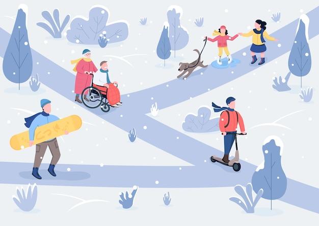 Flache farbe der winterparklandschaft. kinder mit hund und älterem paar im verschneiten park. winter-outdoor-zeit, die 2d-zeichentrickfiguren mit schneebedeckten bäumen auf hintergrund verbringt