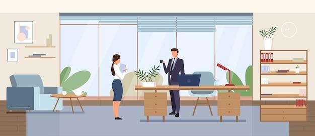 Flache farbe des geschäftsbüros. unternehmensmanager, unternehmens-ceo kabinett 2d-cartoon-innenarchitektur mit zeichen auf hintergrund. geschäftsmann mit sekretär, persönlicher assistent