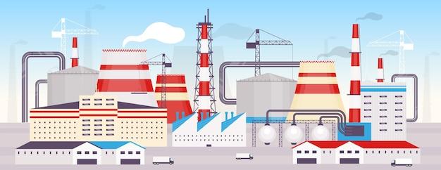 Flache farbe des industriekraftwerks. 2d-karikaturlandschaft der energiestation mit baukränen und kaminen auf hintergrund. moderne produktionsstätte, stromerzeugungsfabrik