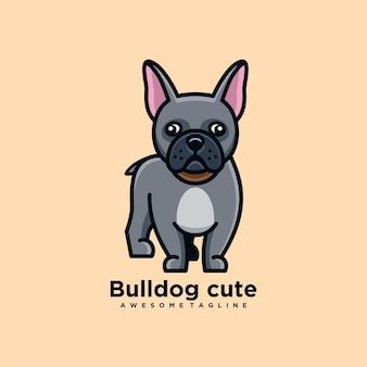 Flache farbe des niedlichen logo-designvektors der bulldoggenkarikatur