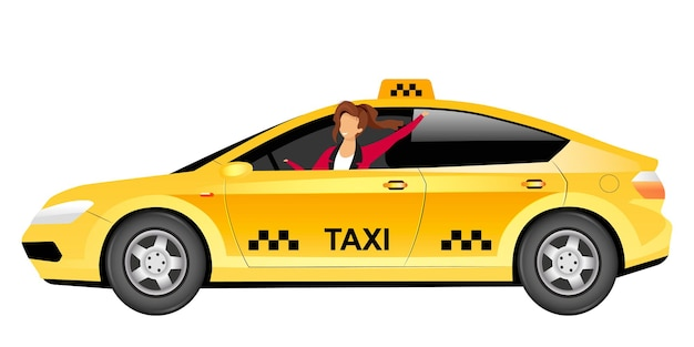 Flache farbe des weiblichen taxifahrers
