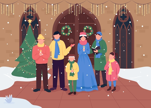 Flache farbe des weihnachtskirchenchors. weihnachtslieder singen. anbetungsversammlungen. frohe feiertags-2d-zeichentrickfiguren mit traditionell verzierter kirche auf hintergrund