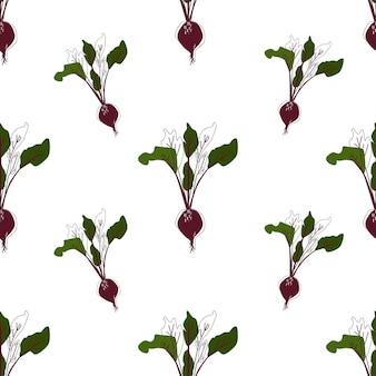 Flache farbe gemüse nahtlose hintergrund-vektor-illustration. rote-bete-wandbilder. skandinavischer stil. küchenkunst. vegetarische kulisse.