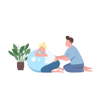 Flache farbe gesichtsfarbe der schwangeren frau fitness. ehemann helfen frau. mann massagemädchen. klasse für schwangerschaftsvorsorge isolierte cartoon-illustration für web-grafikdesign und animation