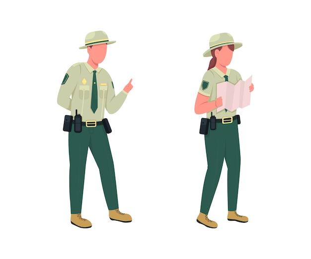 Flache farbe gesichtsloser zeichensatz des männlichen offiziers der umweltpolizei waldschutz strafverfolgungsbeamte isolierte karikaturillustration