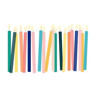 Flache farbe kerzen hintergrund isoliert vektor-illustration. feier-design. festliche kulisse. geburtstag dekoration.