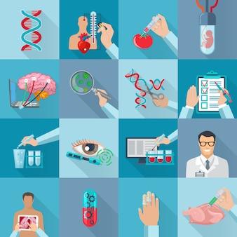 Flache farbe lokalisierte biotechnologieelementsatz mit genetisch geänderten produkten dna-moleküls und in-vitro-vektorillustration des menschlichen embryos