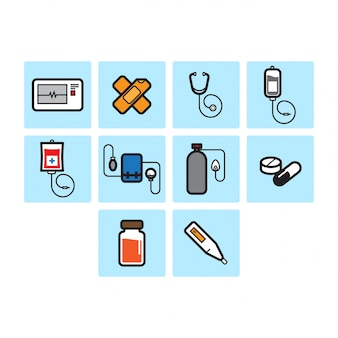 Flache farbe medizinische icon-set