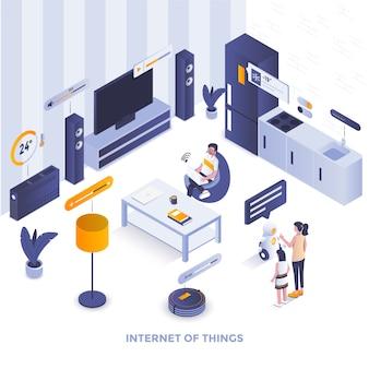 Flache farbe moderne isometrische illustration - internet der dinge Premium Vektoren