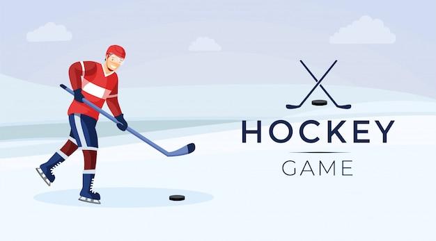 Flache farbfahnenschablone des hockeyspiels
