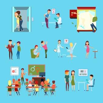 Flache farbige ikone der empfängnisverhütung stellte mit verschiedenen weisen und informationen über empfängnisverhütung ein