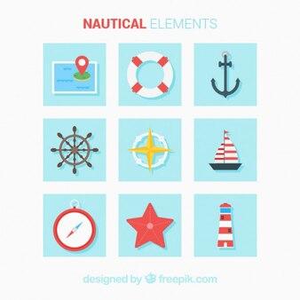 Flache farbige nautische elemente
