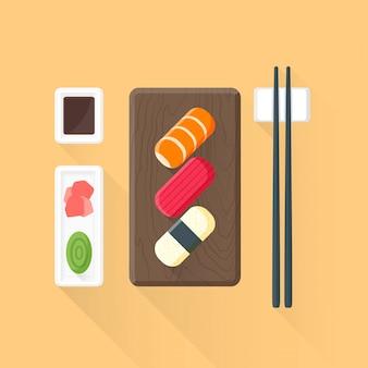 Flache farbige sushi set symbol