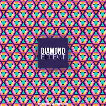 Flache farbiger hintergrund mit diamanteffekt