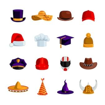 Flache farbikonen der hüte und der kappen stellten von der sombrero-bowlerquadrat-akademischen hutbaseballmütze ein