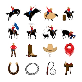 Flache farbikonen des rodeos mit rodeo-cowboys