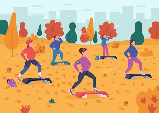 Flache farbillustration der fitness im freien. gruppentraining draußen. steigern sie ihre aerobic-übungen im park. aktiver lebensstil. frauenathlet 2d-zeichentrickfiguren mit landschaft auf hintergrund