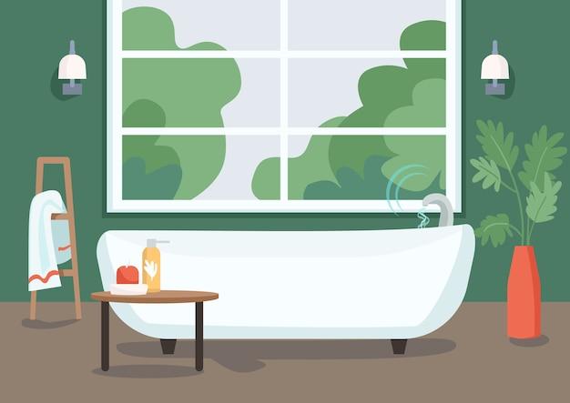 Flache farbillustration der intelligenten badewanne. internet der dinge technologie im alltag. wasserflussfernbedienung. 2d-karikaturinnenraum der modernen wohnung mit badezimmer auf hintergrund