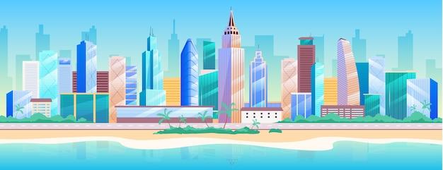 Flache farbillustration der küstenmetropole. modernes 2d-karikaturstadtbild mit wolkenkratzern auf hintergrund. urban resort, sommererholung. stadtlandschaft mit gebäude nahe strand