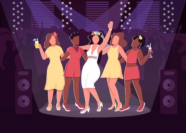Flache farbillustration der nachtclub-partei. fröhliche mädchen in coolen kleidern