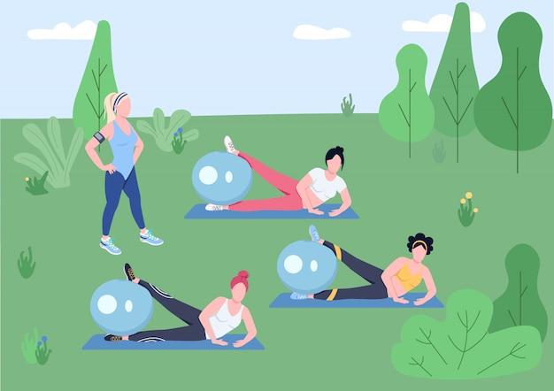 Flache farbillustration der pilates-klasse im freien. weiblicher fitnesstrainer und junge frauen, die mit stabilitätskugeln 2d-zeichentrickfiguren mit natur auf hintergrund trainieren.