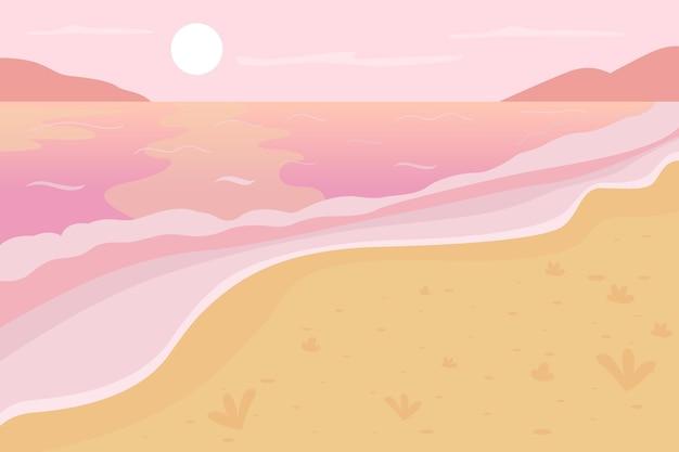 Flache farbillustration der romantischen strandlandschaft