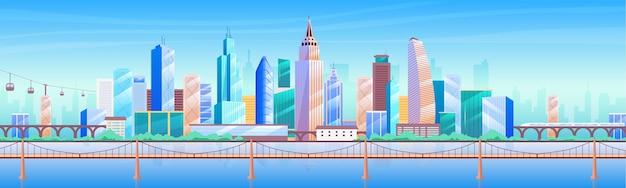 Flache farbillustration der skyline der stadt