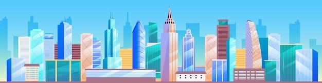 Flache farbillustration der stadtlandschaft. skyline der stadt. metropolis 2d cartoon stadtbild mit wolkenkratzern auf hintergrund. geschäftsviertel architektur, innenstadt panorama mit hohen gebäuden