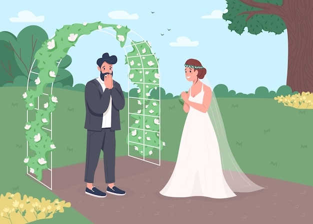 Flache farbillustration der verlobungszeremonie