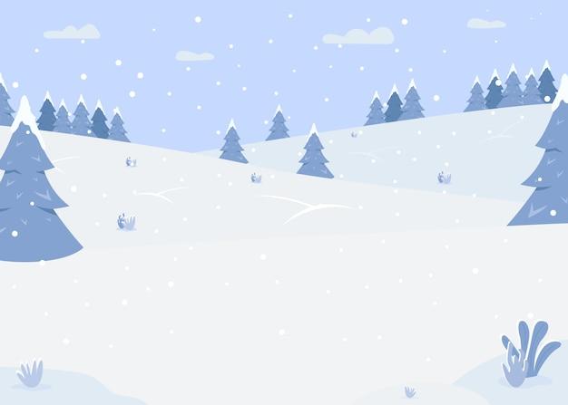 Flache farbillustration der verschneiten waldhügel