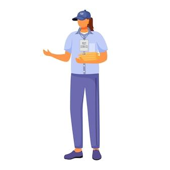 Flache farbillustration der weiblichen arbeit des postamtes. frau verteilt pakete. post-service-lieferung. frau in der amerikanischen postuniform isolierte karikaturfigur auf weißem hintergrund
