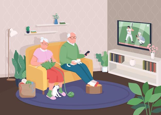 Flache farbillustration des alten paares zu hause. großmutter und großvater sehen zusammen fern. rentner entspannen sich auf der couch. 2d-zeichentrickfiguren der älteren familie mit hausinnenraum auf hintergrund