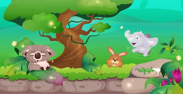 Flache farbillustration des dschungels coala nahe baum nettes kaninchen und elefant im grün tierschutzgebiet naturschutz erhaltung tropische karikaturlandschaft mit grün auf hintergrund