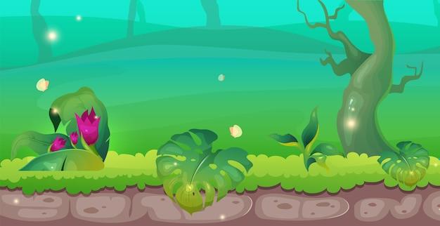 Flache farbillustration des dschungels. exotischer wald. fantasiewälder. boden mit gras und laub. blüte auf büschen. üppige sträucher. tropische 2d-karikaturlandschaft mit grün auf hintergrund