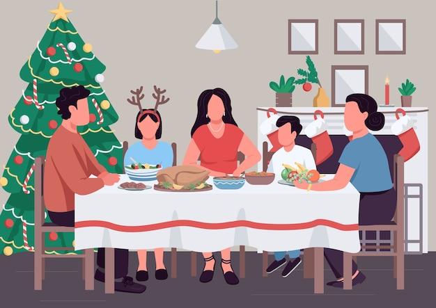 Flache farbillustration des familienfamilienessens