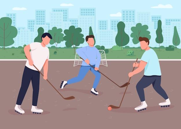 Flache farbillustration des feldhockeys. die leute spielen auf dem öffentlichen spielplatz der stadt. leistungssportspiel im freien. 2d-zeichentrickfiguren des teamspielers mit stadtpark auf hintergrund