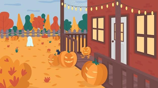 Flache farbillustration des halloween verzierten hofes. saisonale gruselige kürbisse auf rasen. veranda und leichte girlande. festliche haushinterhof-2d-karikaturlandschaft mit herbsthintergrund