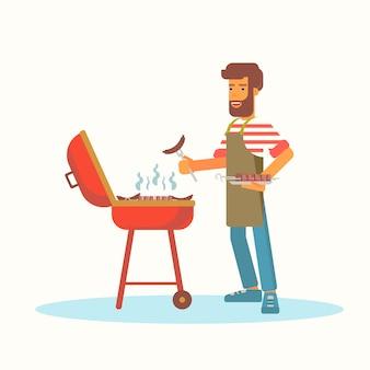 Flache farbillustration des jungen mannes, der grill brät