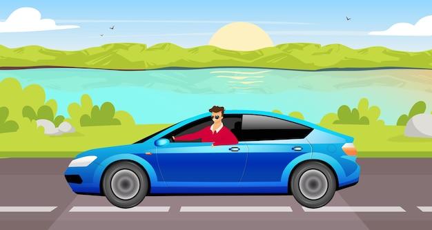 Flache farbillustration des jungen mannes, der limousine fährt. glücklicher fahrer in 2d-zeichentrickfilmfigur des blauen autos mit seelandschaft auf hintergrund. lächelnder kerl in der sonnenbrille auf sommerstraßenausflug