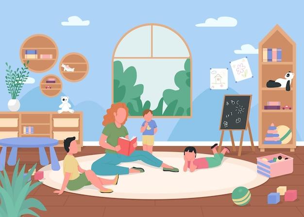 Flache farbillustration des kindergartenspielzimmers