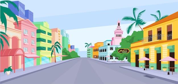 Flache farbillustration des kubanischen stadtlebens