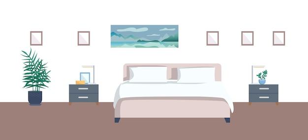 Flache farbillustration des leeren schlafzimmers. gemütliches 2d-cartoon-innendekor des hotelzimmers mit malerei auf hintergrund. komfortable unterkunftsausstattung. bett mit nachttischen und zimmerpflanze gemacht
