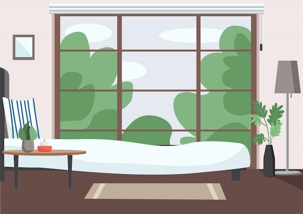 Flache farbillustration des leeren schlafzimmers